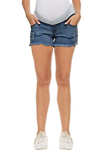 Kegiani Maternity Overbelly Wide Elastic Band Waist Denim Shorts Summer Pregnancy Shorts #5 Medium Blue,Medium