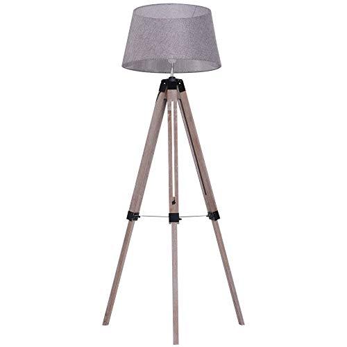 HOMCOM Stehlampe Tripod höhenverstellbar Schlafzimmer Standleuchte Stehleuchte 40 W Skandinavisch Holz + Leinen natur + grau 65 x 65 x (99–143) cm