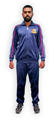 Be Win National Cadet Corps / NCC Tracksuit Color Navy blue & yellow text embroidered tracksuit with Sky blue & Red Stripes