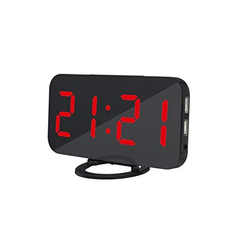 LED Digital Alarm Clock, Large LED Display with Dual USB Charger Ports, Mirror Alarm Clock Dimmable Night Mode Bedside Clock for Bedroom Home Office