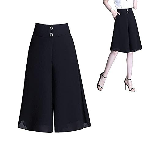 Dames zomer chiffon wijde pijpen culottes, zomer vrouwen hoge elastische taille geplooide chiffon wijde pijpen capri broek culottes met zakken (4XL)