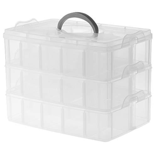 Baoblaze Boîte de Rangement en Plastique avec 3 Couches 30 Emplacements pour Organisateur de Caisse Réglable Stockage Perles Boucles d'Oreilles Collier