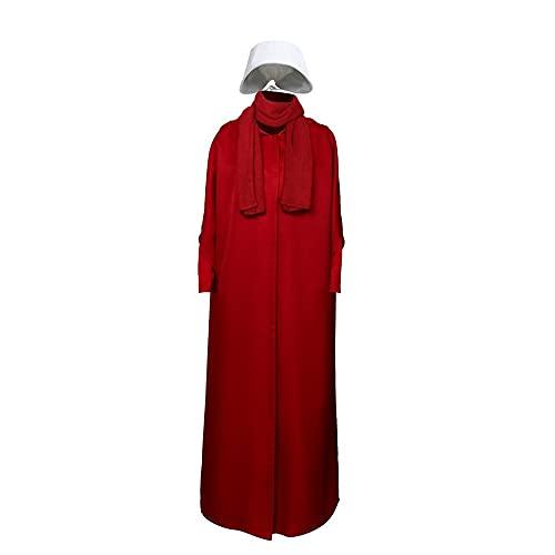 Disfraz de sirvienta de mano – Capa con capucha roja con visera ancha blanca, para mujer de manga larga suelta lisa larga capa casual