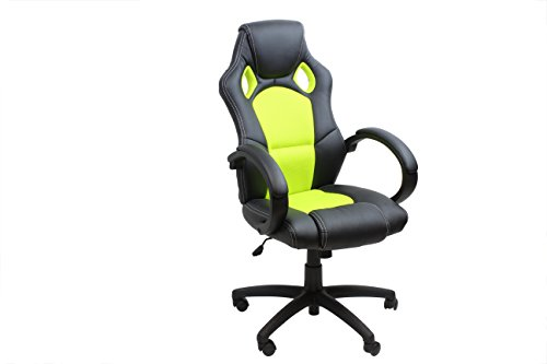 AVANTI TRENDSTORE - Kyoto - Sedia da scrivania a forma ergonomica in ecopelle, girevole, su rotelle, con braccioli, schienale reclinabile e altezza regolabile, disponibile in diversi colori, dimensioni: LAP 61x108/118x67,5 cm (Verde chiaro)