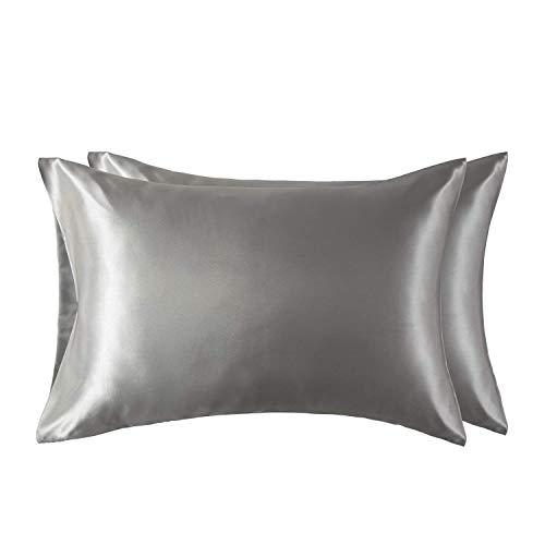 Bedsure Satin Kissenbezug grau 50x75 Doppelpack, seidig Kopfkissenbezug 50 x 75 cm Haar- und Hautpflege, Kissenbezüge Kissenhülle in 2er Set, Silky Pillow case for Hair
