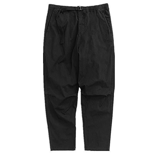 N\P Primavera y Otoño Casual Hombres Pantalones Elástica Cintura Cinturón Atadura Lavado Casual Pantalones