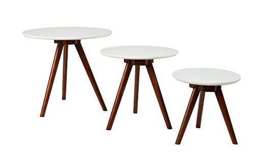 ts-ideen 3er Set Design Beistelltische weiß rund Walnuss dunkel Kaffeetisch Couchtisch für das Wohnzimmer Kinderzimmer Küche Flur Büro