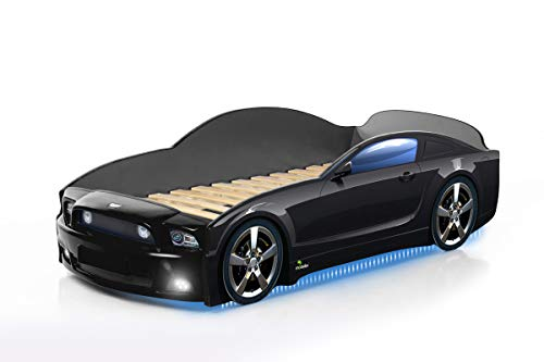 Kinderbett Babybett Jugendbett Autobett Bett 5 FARBEN Mustang PLUS FULL 184,5/74 cm (schwarz) + Matratze und Rahmen