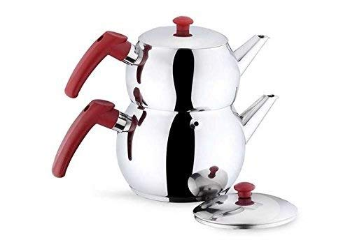 Papatyam Teapot Set Turkish Double Tea Pot Kettle Stovetop Warmer Tea Maker Water Heater Stainless Steel Made in Turkey Dishwasher Safe Total Capacity 2.2 qt-2.1 lt (Mini with Red Handles)
