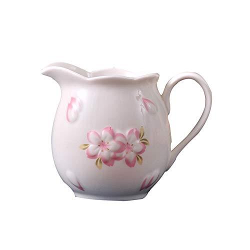 Salsera Copa de cerámica de cerámica impresa Café creativo Jarra de leche con mango Sakura La jarra de condimentos de hogar es perfecta para las damas o los coleccionistas de los amantes del vajilla C