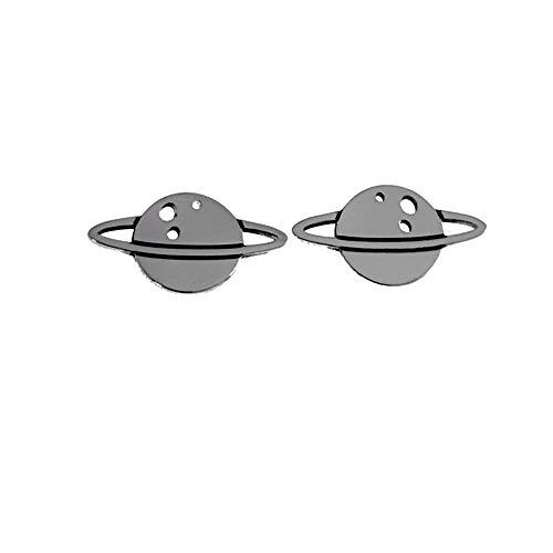 Pendientes Plata Ley 925M. Mujer Motivo Planeta Saturno 7mm. Anillo 13mm. Cierre Presión