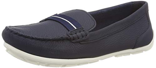 Clarks Dameo Vine, Mocasines para Mujer, Azul (Navy Leather-), 41.5 EU