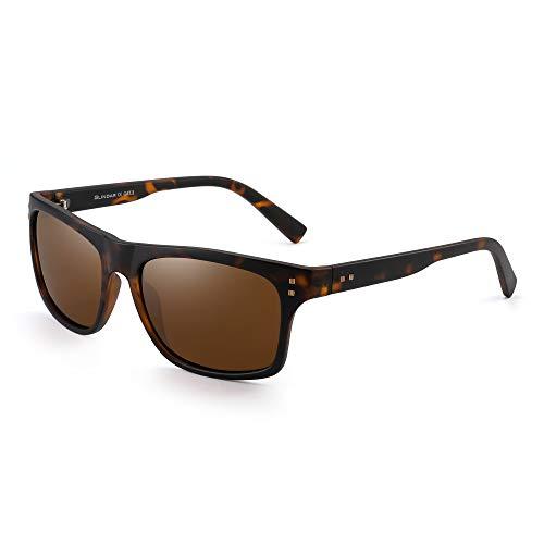 JIM HALO Clásicas Polarizadas Gafas de Sol Para Mujer Hombre Diseñador Sol Anteojos UV400(Marco Negro Mate/Lente Marrón Polarizado)