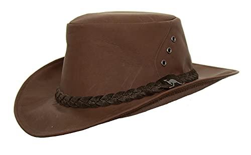 Cacadu - Cappello traveller australiano in pelle di canguro naturale conciata al cioccolato marrone ciocciolato XL