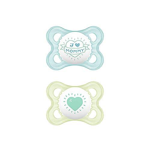 MAM Original S154 Schnuller mit Sauger aus Latex, für Babys 0+ Monate, blau (2 Stück) mit selbststerilisierender Box