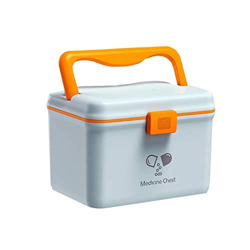 QD-SGMP 救急箱 薬箱 おしゃれ 大容量 くすりばこ プラスチック 取っ手 鍵付き かわいい 薬入れ 家庭用 アウトドア 旅行用 災害用 携帯便利 薬収納ボックス (ブルー)