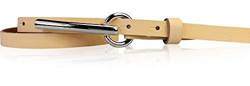 FRONHOFER schmaler Damengürtel 1,5 cm schmal, mit 8 cm langer silberfarbiger Gürtelschnalle Gürtel Damen nickelfrei 17915, Größe:Körperumfang 105 cm/Gesamtlänge 120 cm, Farbe:Peach