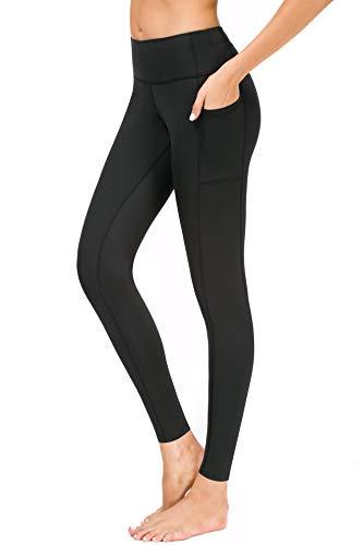 Flatik Damen Strumpfhose Sport Print Yoga Leggings Workout Fitness Running Pants (Schwarz, L)