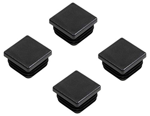 Gedotec PE Rohrstopfen Fußkappen schwarz aus Kunststoff für Vierkantrohr | Formrohr-Stopfen quadratisch | Lamellenstopfen 50 x 50 mm | MADE IN GERMANY | 4 Stück - Abdeckkappen für Quadratrohr