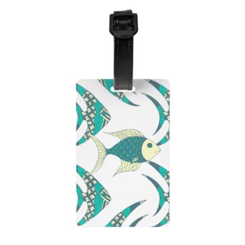 Juego de 2 etiquetas de equipaje, tarjetas de identificación de equipaje de mano de peces de colores de pescado con correa de muñeca desmontable y tarjeta de dirección para maleta de viaje