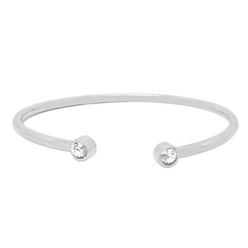 Armreif Silber mit Strasssteinen – Armband aus Stainless Steel glänzend und flexibel Armschmuck Selfmade Jewelry