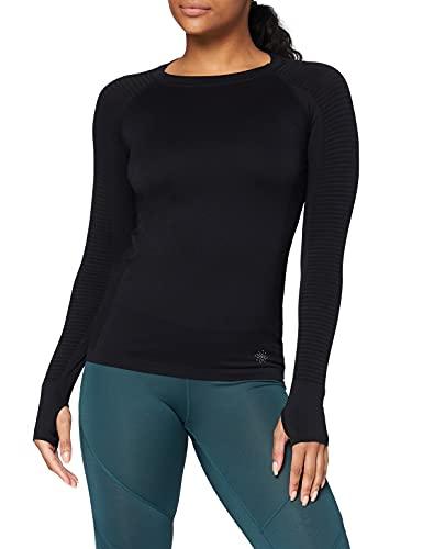 Marca Amazon - AURIQUE Camiseta Deportiva de Manga Larga sin Costuras Mujer, Negro (Black), 38, Label:S