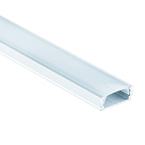 Profi LED Profil für LED Stripes - Serie Aufbauprofil Mini 12 eloxiert (Alu-Profil 2M Aluminium Aufbauprofil Mini 12 mit flacher milchiger Abdeckung);LED Band, LED Stripe, LED Strip