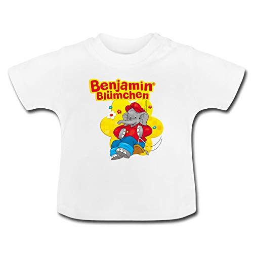 Benjamin Blümchen Auf Schaukel Schriftzug Baby T-Shirt, 6-12 Monate, Weiß