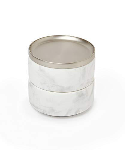 Umbra 299470-491 Tesora Jewelry Box, Two-Tier Resin Storage Container with Removable Lid, Marble/Nickel