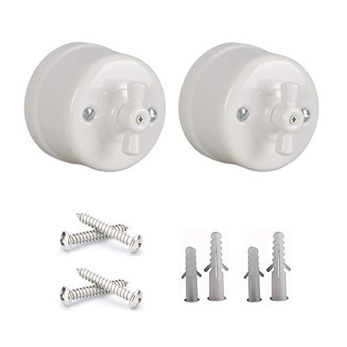 2 unids Interruptor de antiguos porcelana interruptores de luz vintage rotativo 10A 240V