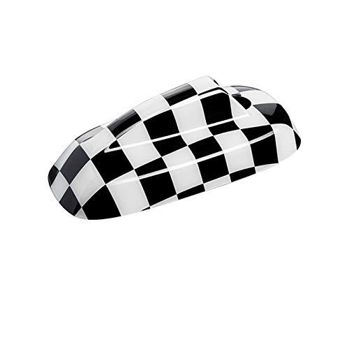 La Radio De Coche De La Señal De La Antena De La Cubierta De La Decoración 3D De La Cubierta Fit For El Mini One Clubman Cooper S F54 F55 F56 F60 (Color Name : Black White Plaid, Size : F54 F60)