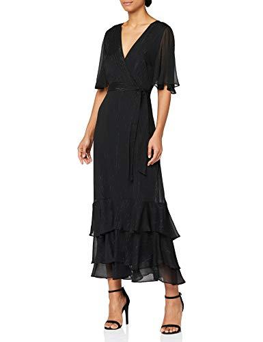 Marchio Amazon - Truth & Fable Vestito con Rouches all'Orlo Donna, Nero (BLACK BLACK), 46, Label: L