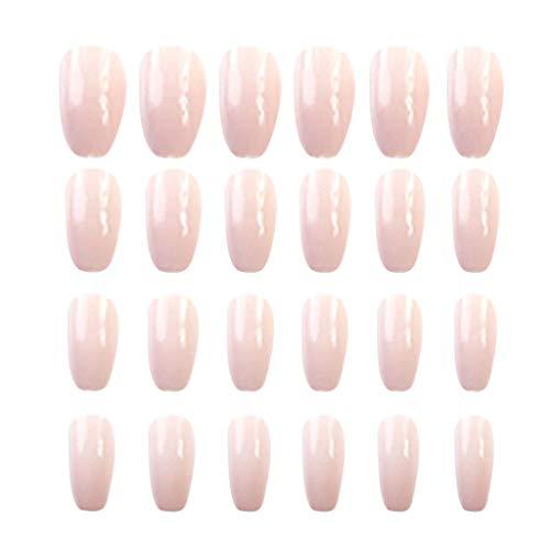 Kapian 24pcs Künstliche Nägel Komplett Blickdichte Nägel Natürliche Französisch Acryl Künstliche Gefälschte Falsche Nägel Kunst Tipps für Damen Mädchen Nagel Salons & DIY-Nailart