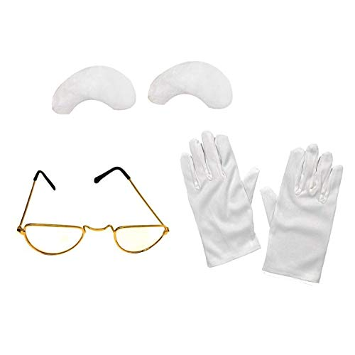 ILOVEFANCYDRESS SANTA GLOVES, GLASSES AND EYEBROWS FATHER CHRISTMAS FANCY DRESS COSTUME SET