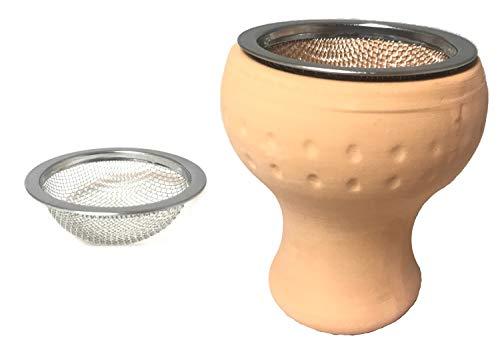 Shisha Wasserpfeifen | Tonkopf Einlegesieb Edelstahl | Hochwertige Verarbeitung | Tabakkopf + Sieb Set