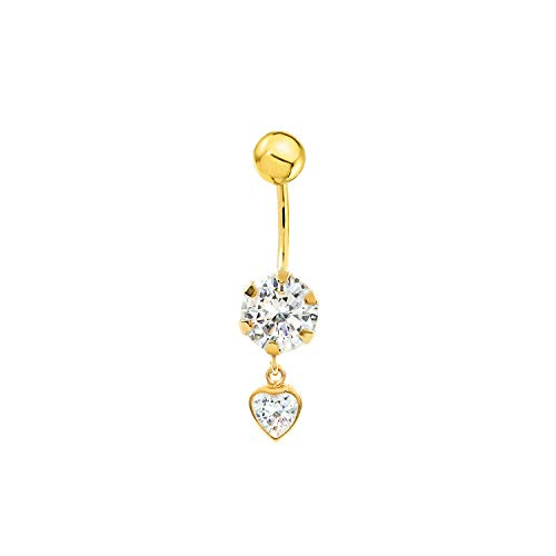 Piercing zircone 6 mm coeur 5 mm nombril or jaune 9 carats