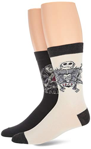 Disney Men's Nightmare Before Christmas 2 Pack Crew, Blue Multi, Fits Sock Size 10-13 Fits Shoe Size 6.5-12.5