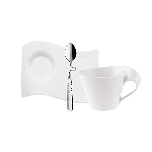 Villeroy & Boch - NewWave Cappuccino-Set 3 tlg., Kaffeetasse, Untertasse aus Premium Porzellan, Edelstahllöffel, für 1 Person, spülmaschinenfest