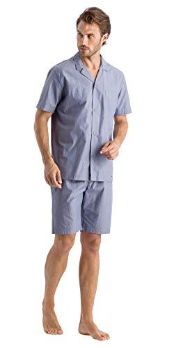 Hanro Herren Lynel Short Sleeve Pajama Pyjama Set, Feiner Streifen, X-Large