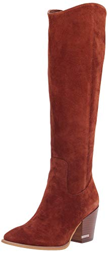 Calvin Klein Women's MASSIE Knee High Boot, Dark Cuoio, 8 UK
