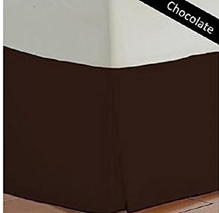 1 Pcs Bed Skirt QUEEN Size with 400 TC in Chocolate Color and Solid Pattern 100% Egyptian Cotton ( 16 Inch )