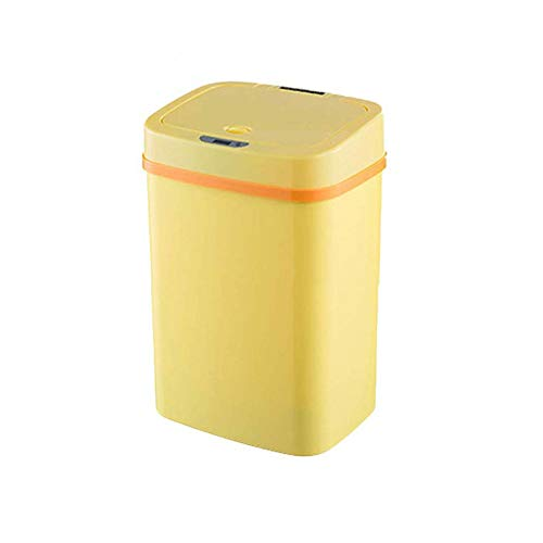 AMYHY Mülleimer, kreative intelligente Sensor Mülleimer Kunststoffwindel Eimer Baby Deo Multifunktions berührungslose Haushalts Mülleimer (Color : Yellow, Size : 12L)