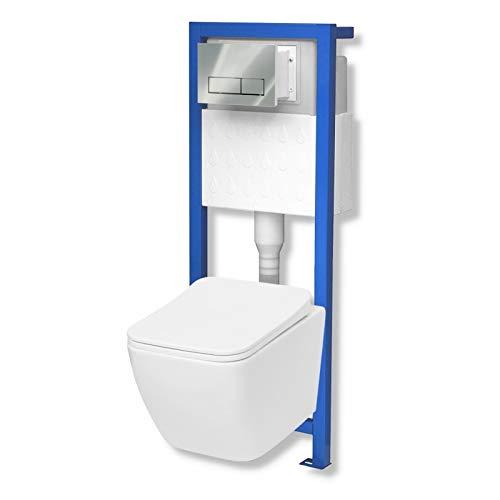 Domino Lavita Vorwandelement inkl. Drückerplatte+ Wand-WC Lino ohne Spülrand + WC-Sitz mit Soft-Close Absenkautomatik Drückerplatte RC (chrom)