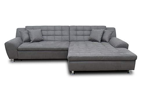 DOMO. collection Morton Ecksofa | Sofa mit Schlaffunktion in L-Form, Eckcouch mit Bett, anthrazit, 304x200x84 cm