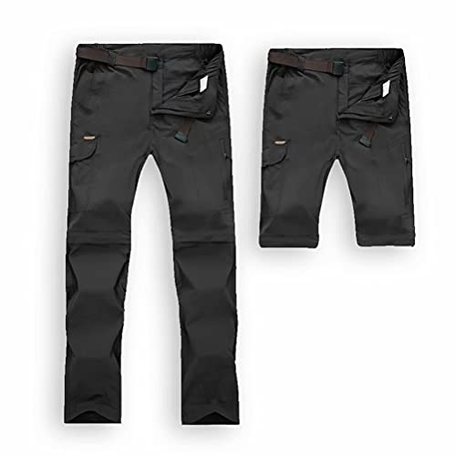 JIANYE Pantalon Trekking Hombre Mujer Zip Off Extraíble Pantalon Senderismo Secado Rápido Pantalones Montaña con Cinturón Negro M