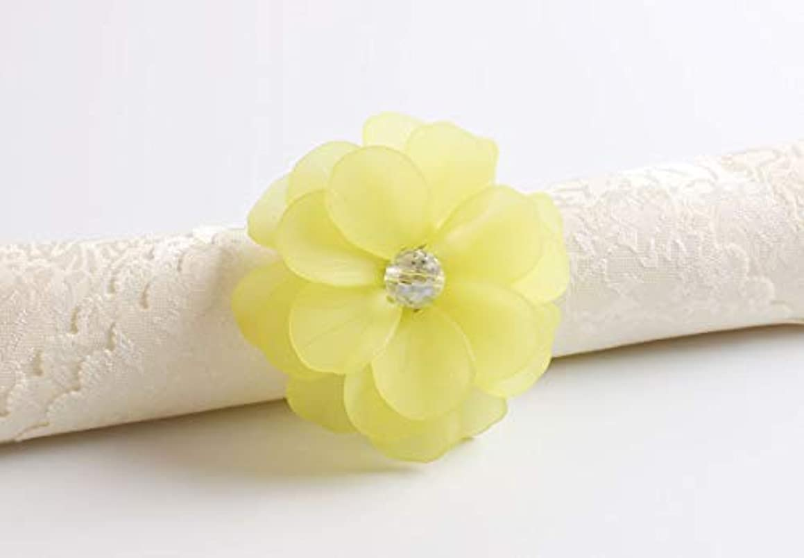 Fennco Styles Unique Translucent Petals Acrylic Flower Napkin Rings - Set of 4 (Yellow)