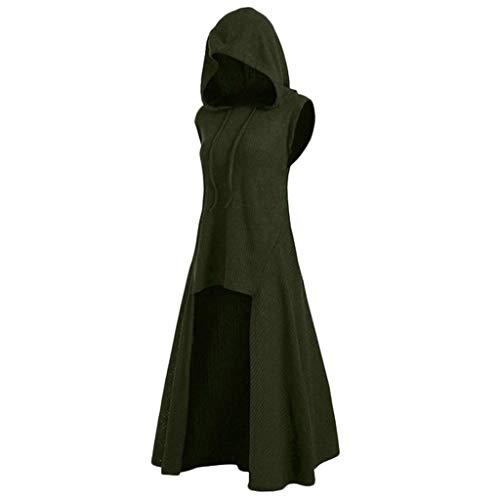 LOPILY Umhang Kleid mit Kapuze Vokuhila Cape Vampir Kostüm Halloween Erwachsener Damen Cosplay Umhang Prop für Halloween Masquerade Mittelalter Kleidung Karneval Kostüme (Grün, 46)