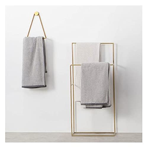 Toallero de baño, piso, estante de riel de toalla independiente de metal de 2 niveles con 3 barras, servicio pesado, resistente y resistente a la oxidación, para piscina al aire libre, hotel, playa, m