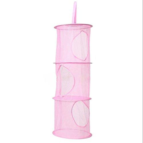 Natthom Atmungsaktive Hängeschränke zum Aufhängen von Leinennetzfaltkörben Size One Size (pink)