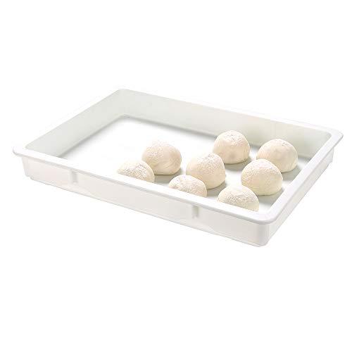 26 x 18 x 3 Inch Proofing Boxes, 10 Rectangle Dough Boxes - Stackable, Dishwasher-Safe, White Plastic Pizza Dough Boxes, Durable, Lids Sold Separately - Restaurantware